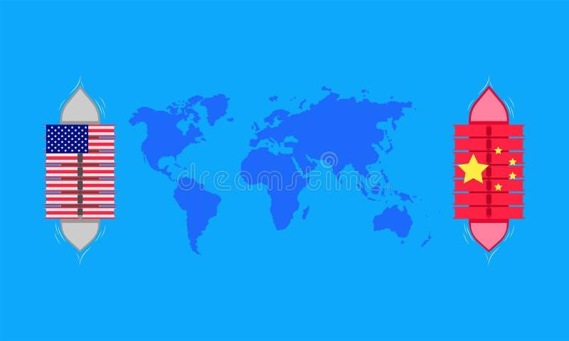Guerra comercial el envío transporta el mapa del mundo asociado de la fábrica de la compañía Ilustraci?n EPS10 del vector ilustración del vector