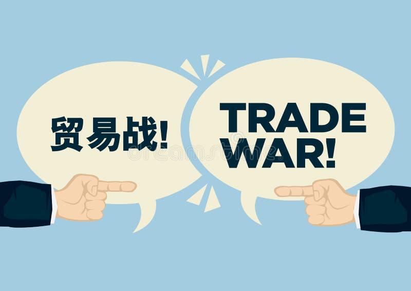 Guerra comercial entre China e Estados Unidos Conceito da crise, do argumento ou do protecionismo ilustração do vetor