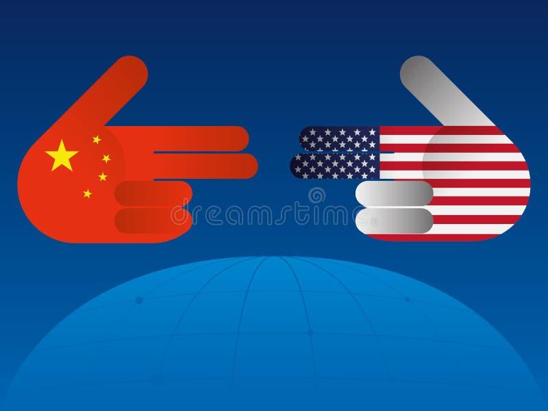 Guerra comercial entre China e EUA ilustração do vetor
