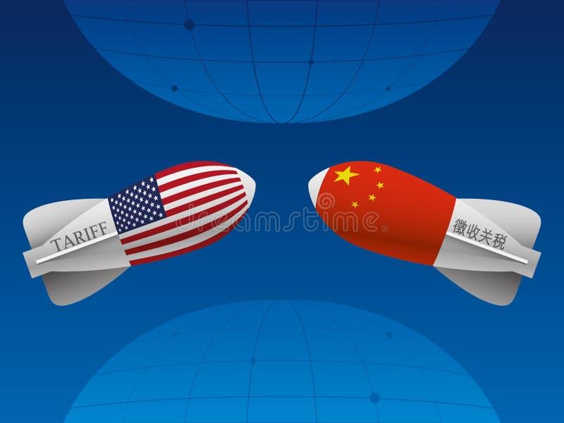 Guerra comercial entre China y los E.E.U.U. stock de ilustración