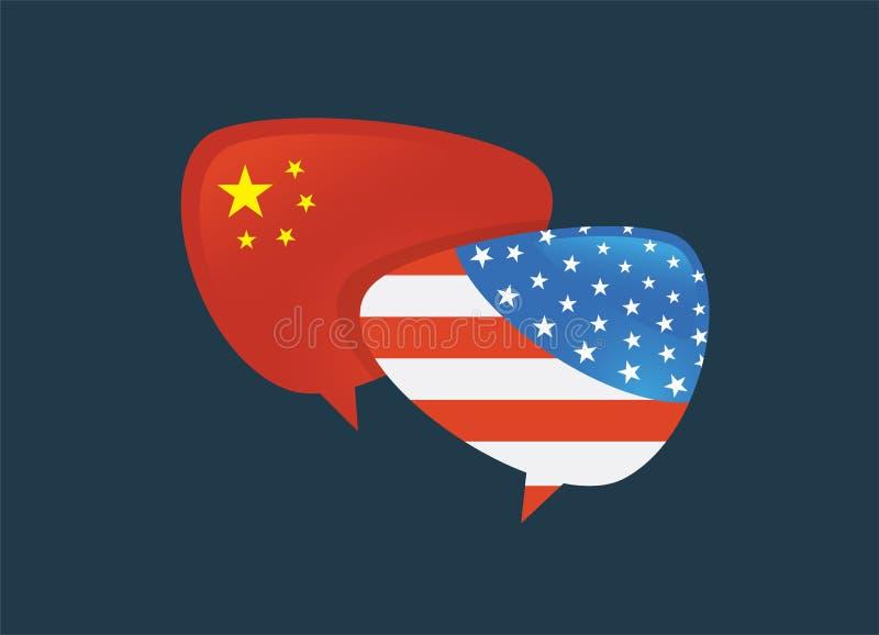 Guerra comercial, international global del intercambio del negocio de la tarifa de América China Los E.E.U.U. contra China cara d ilustración del vector