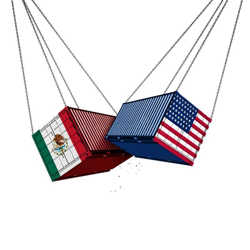Guerra commerciale del Messico Stati Uniti illustrazione di stock