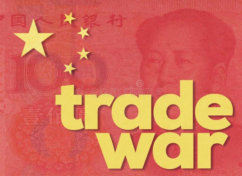 Guerra commerciale e bandiera della porcellana immagine stock