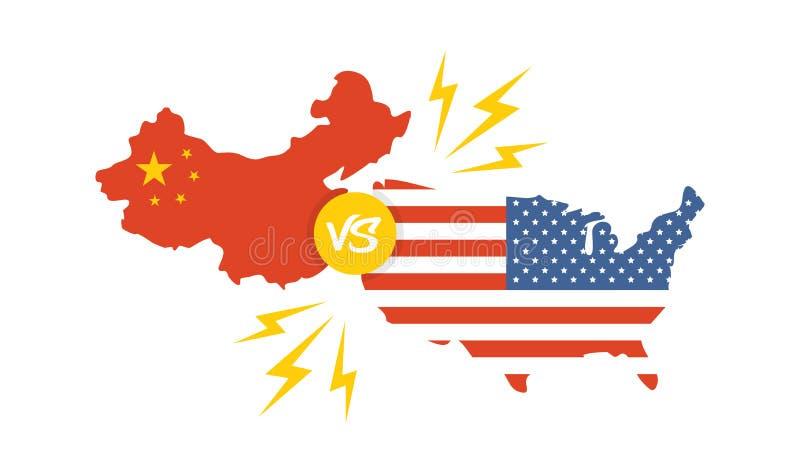 Guerra commerciale, internazionale globale di scambio di affari di tariffa dell'America Cina U.S.A. contro la Cina illustrazione vettoriale