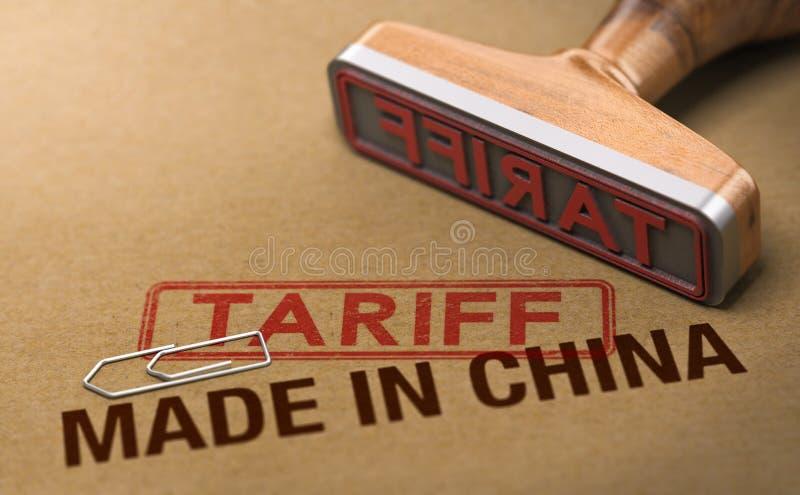 Guerra commerciale, tariffa per le merci e prodotti fatti in Cina illustrazione di stock