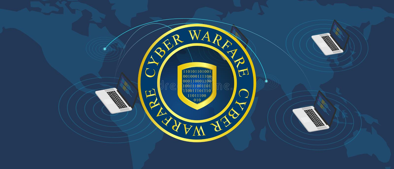 Guerra cyber di guerra illustrazione vettoriale