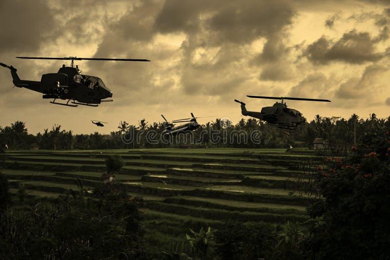 Guerra de Vietnam - reconstrucción del artista ilustración del vector