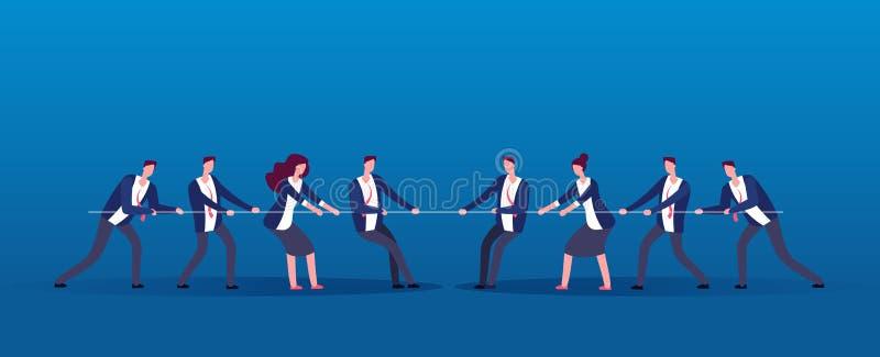 Guerra del equipo Hombres de negocios de los rivales de la cuerda de tracción Competencia, conflicto en concepto del vector de la stock de ilustración