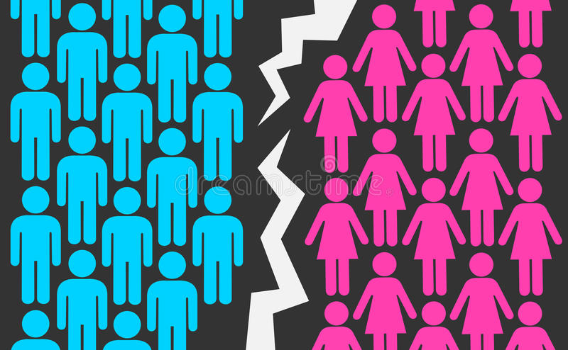Guerra del género ilustración del vector