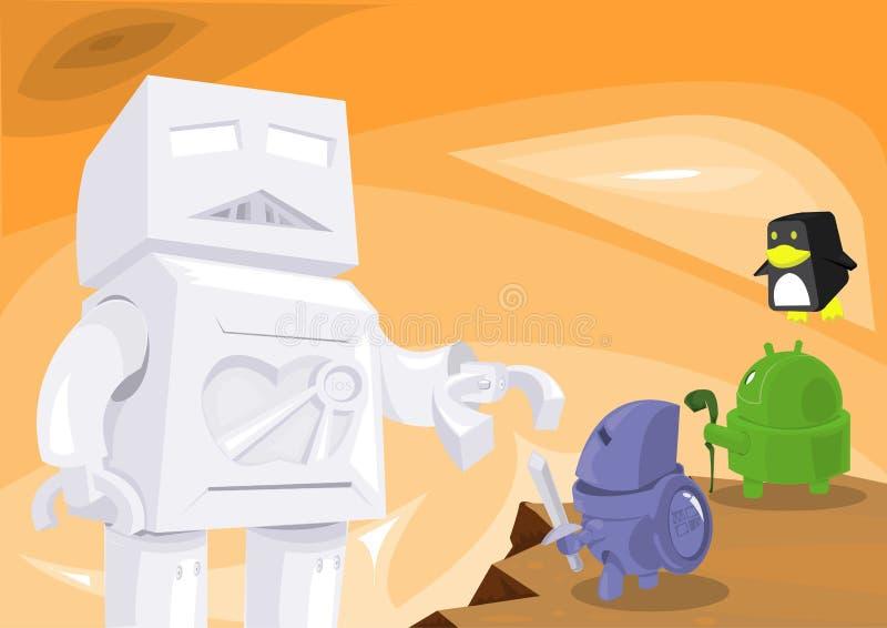 Guerra del robot di OS immagini stock