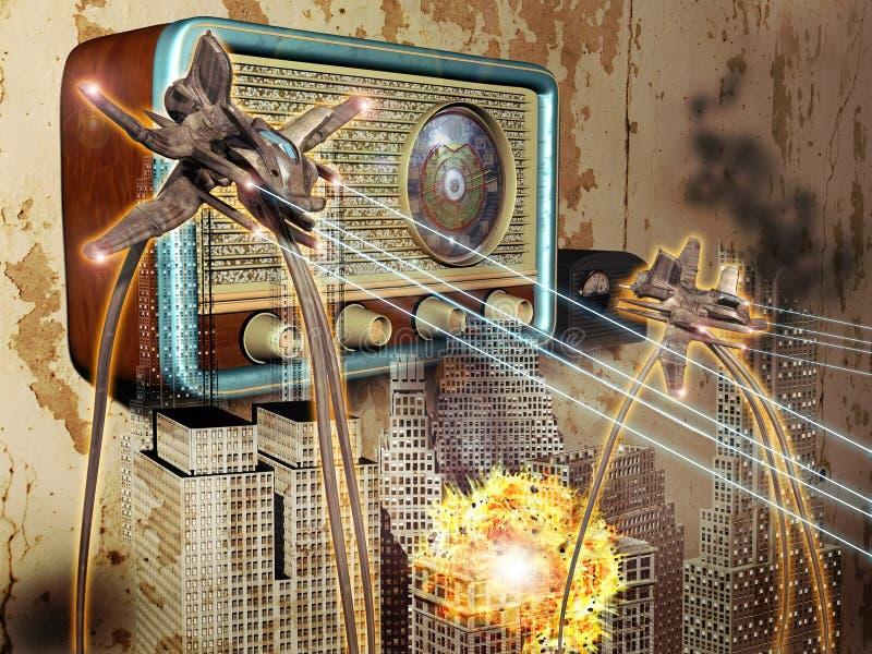 Guerra dell'emissione di radio dei mondi illustrazione di stock