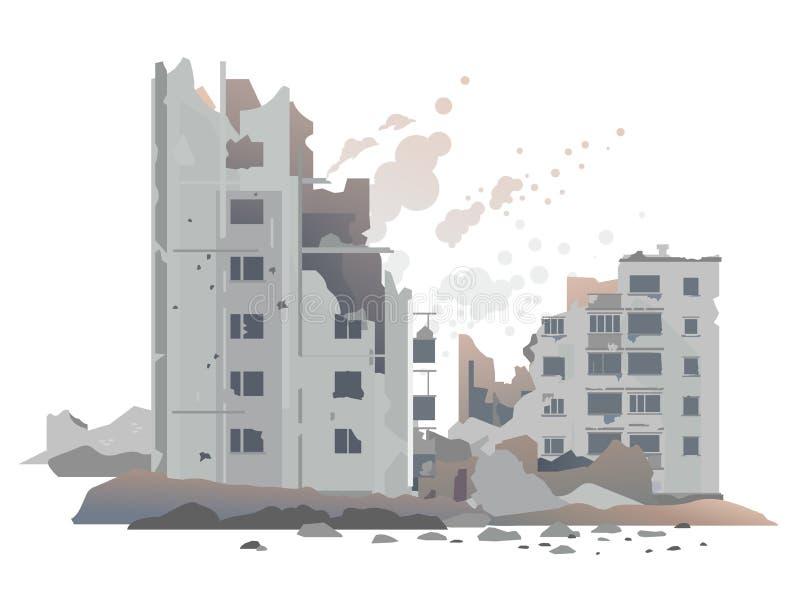 A guerra destruiu constru??es da cidade ilustração do vetor