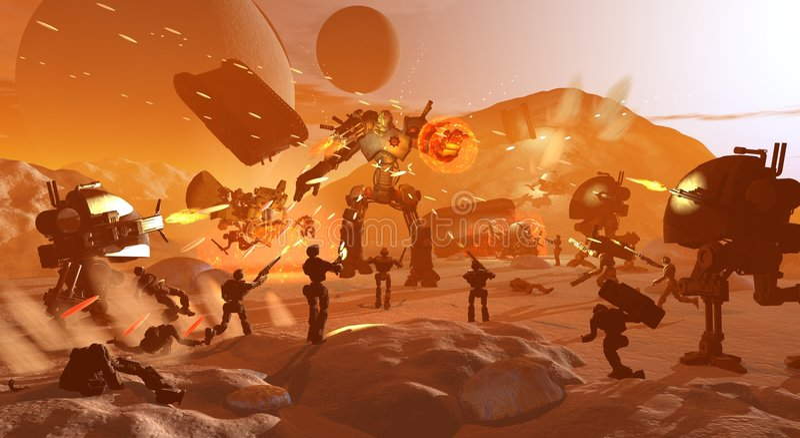Guerra do robô ilustração do vetor