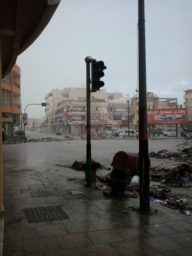 Guerra em ruas de Líbia fotografia de stock royalty free