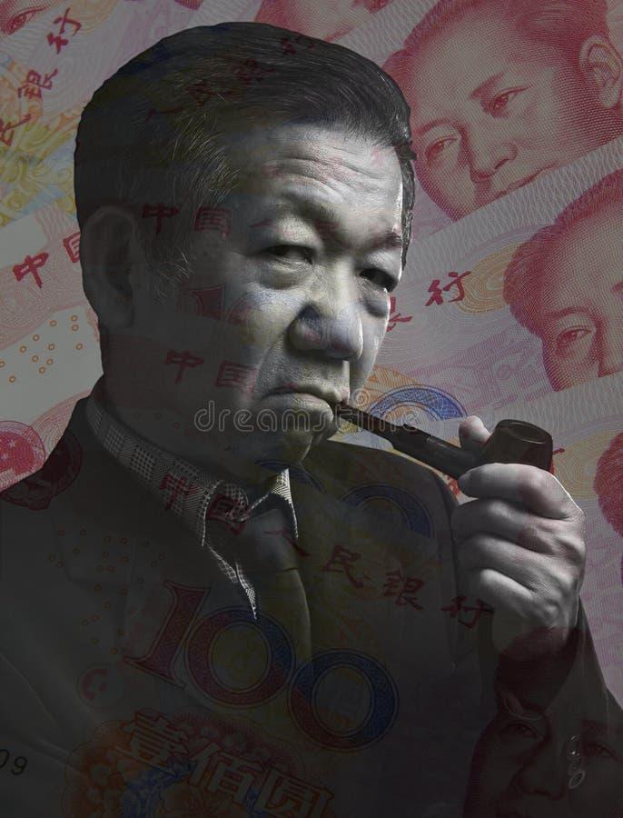 Guerra financeira da estratégia do homem de negócios chinês imagem de stock royalty free