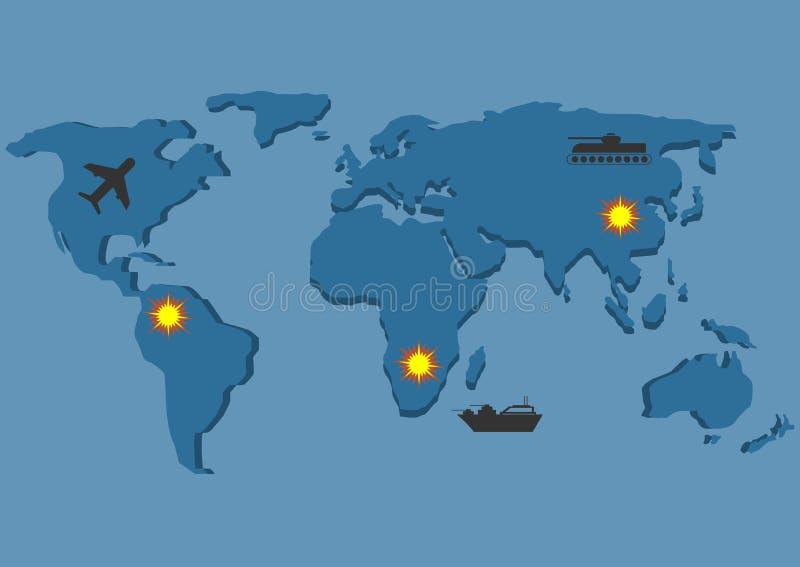 Guerra Mapa de mundo ilustração do vetor