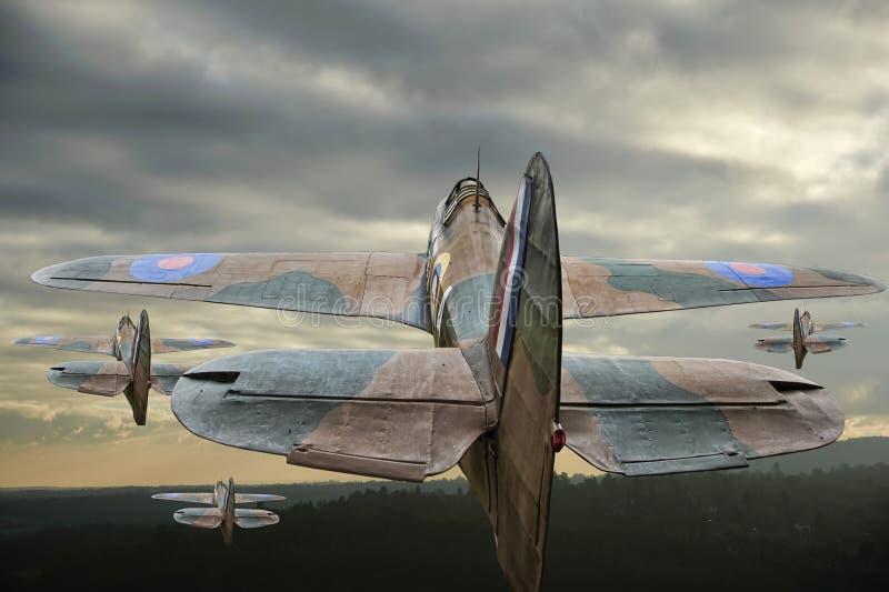 Guerra mondiale un uragano dei 2 velivoli di era durante il volo fotografia stock libera da diritti