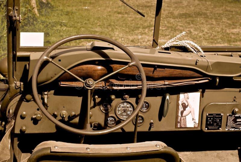 Guerra mundial del jeep del Ejército de los EE. UU. 2 Normandía 2015 fotografía de archivo libre de regalías