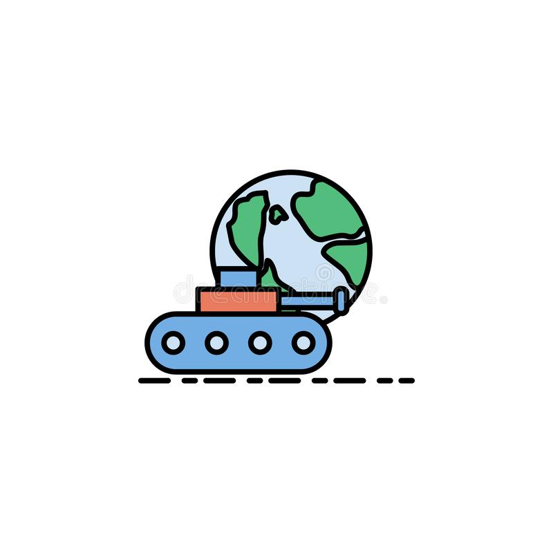 guerra mundial, icono del tanque Elemento del icono del color de la historia para los apps móviles del concepto y de la web La gu stock de ilustración