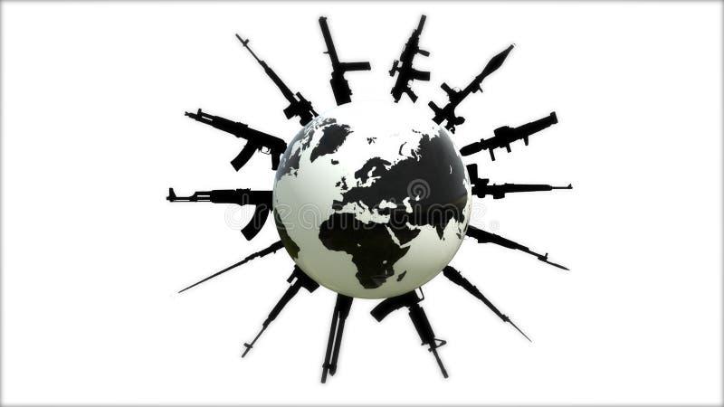 Guerra no planeta Hot spot no mapa do mundo Terra no protetor ilustração royalty free
