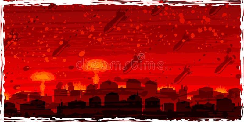 Guerra nuclear - bombas atómicas que caem no cit condenado ilustração stock