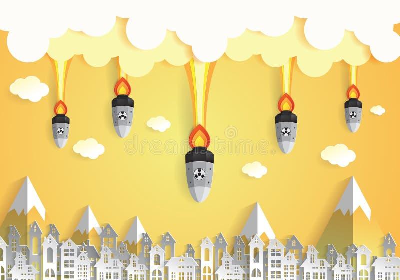 Guerra nuclear - bombas atômicas que caem na cidade ilustração royalty free