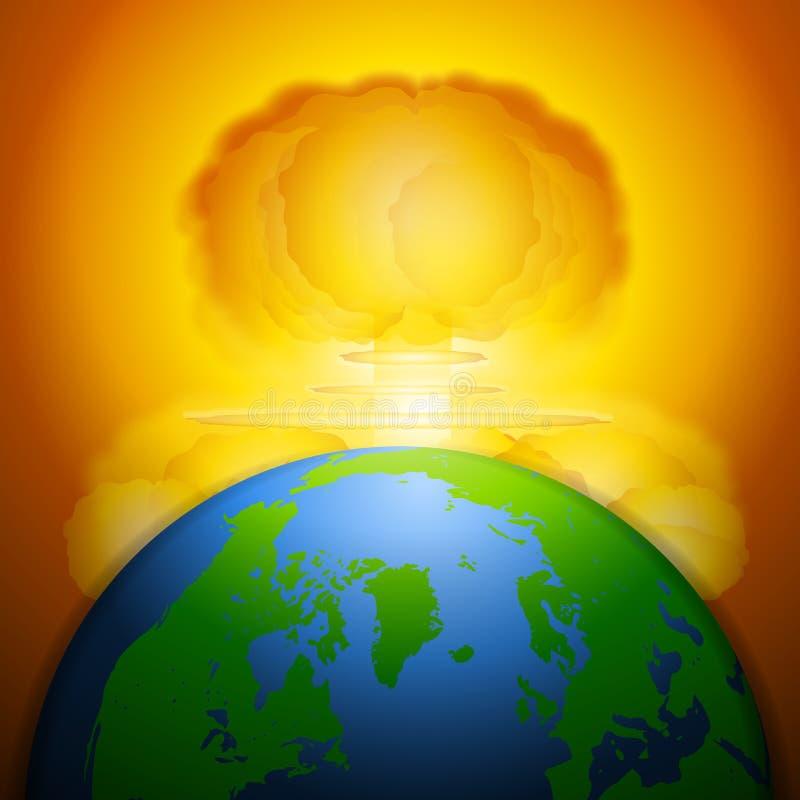 Guerra nuclear do cogumelo atómico ilustração royalty free