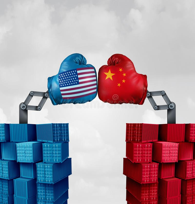 Guerre commerciale USA Chine illustration stock