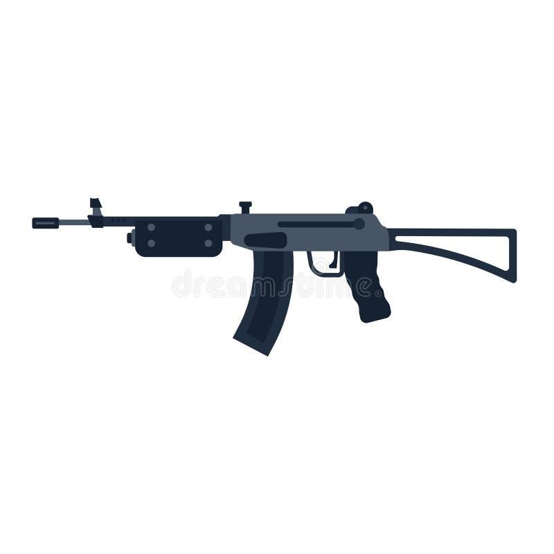 Guerre d'ic?ne de vecteur d'arme ? feu de fusil d'assaut Machine automatique d'arm?e militaire noire d'arme Arsenal lat?ral de mu illustration de vecteur