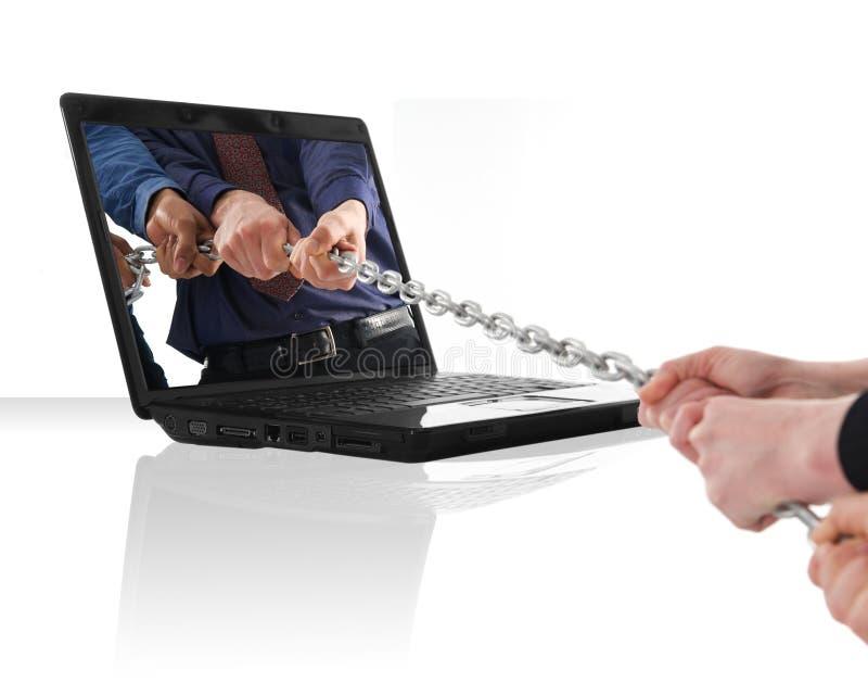 Guerre d'ordinateur portatif images libres de droits