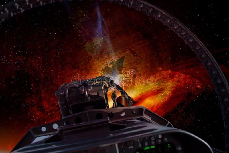 Guerre dans un espace extra-atmosphérique entre les étoiles illustration de vecteur