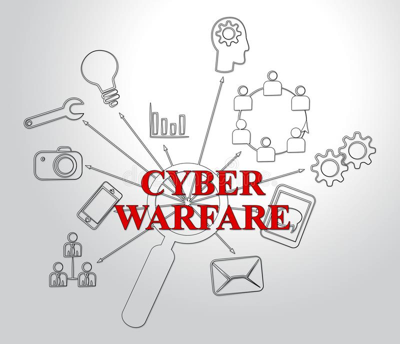 Guerre de Cyber entaillant illustration de menace d'attaque la 2d illustration stock