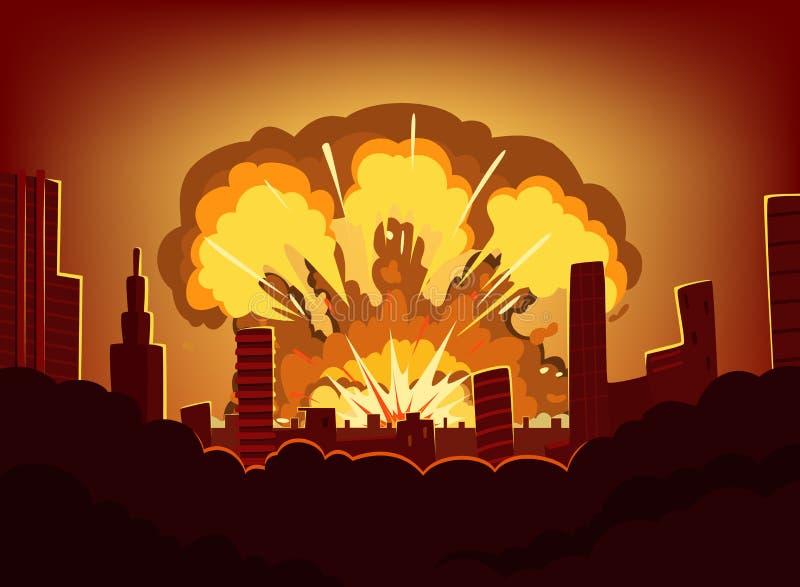 Guerre et dommages après grande explosion dans la ville Paysage urbain monochrome avec le ciel de brûlure après bombe atomique illustration stock