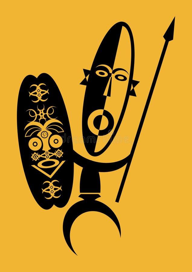 Guerreiro africano ilustração royalty free