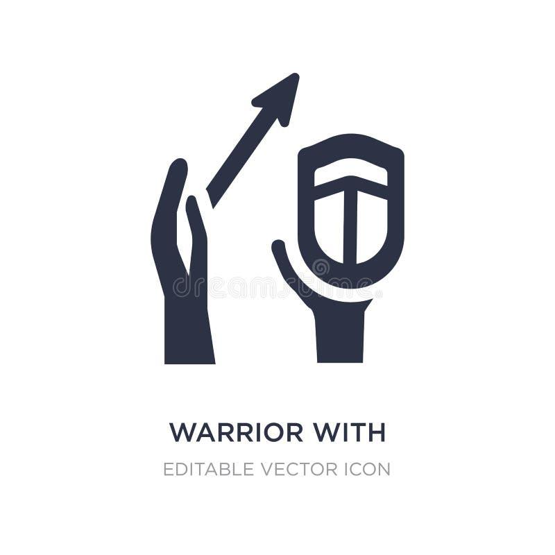 guerreiro com ícone da espada e do protetor no fundo branco Ilustração simples do elemento do conceito de Guestures ilustração royalty free