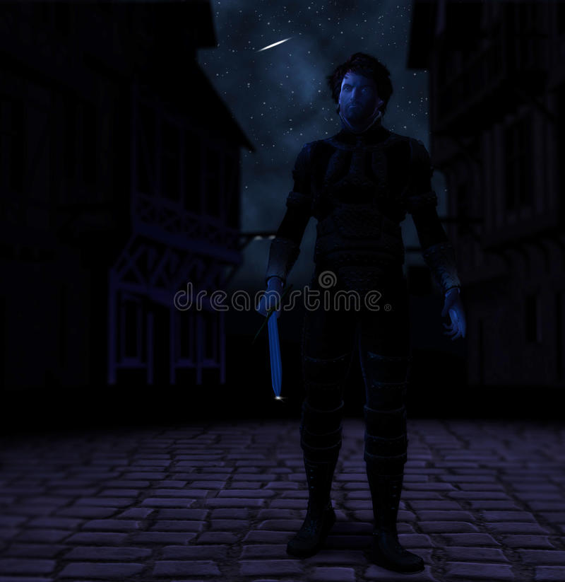 Guerreiro com noite da espada da vingança da vingança ilustração stock