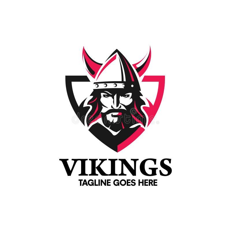 Guerreiro criativo da cabeça de Viking com um capacete horned ilustração royalty free