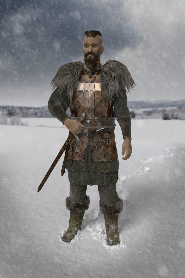 Guerreiro de Viking na paisagem da neve ilustração do vetor