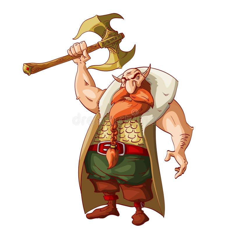 Guerreiro do anão da fantasia dos desenhos animados ilustração royalty free