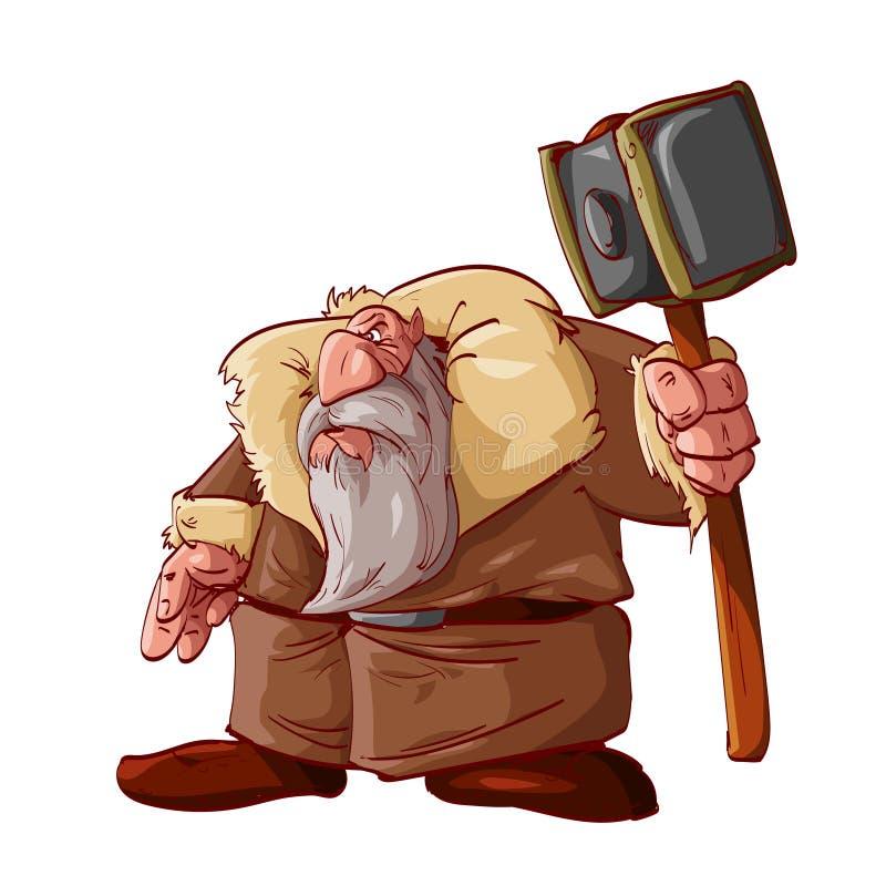 Guerreiro do anão dos desenhos animados ilustração stock