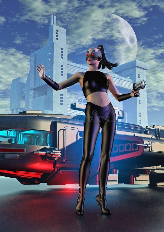 Guerreiro do Cyborg com arma em uma cidade futurista ilustração do vetor