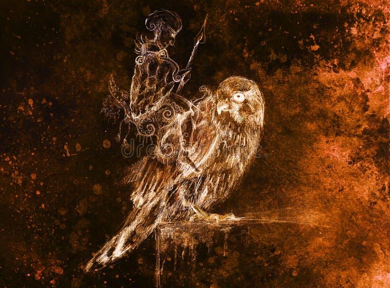 Guerreiro do duende no falcão Desenho de lápis no papel velho Efeito da cor ilustração stock
