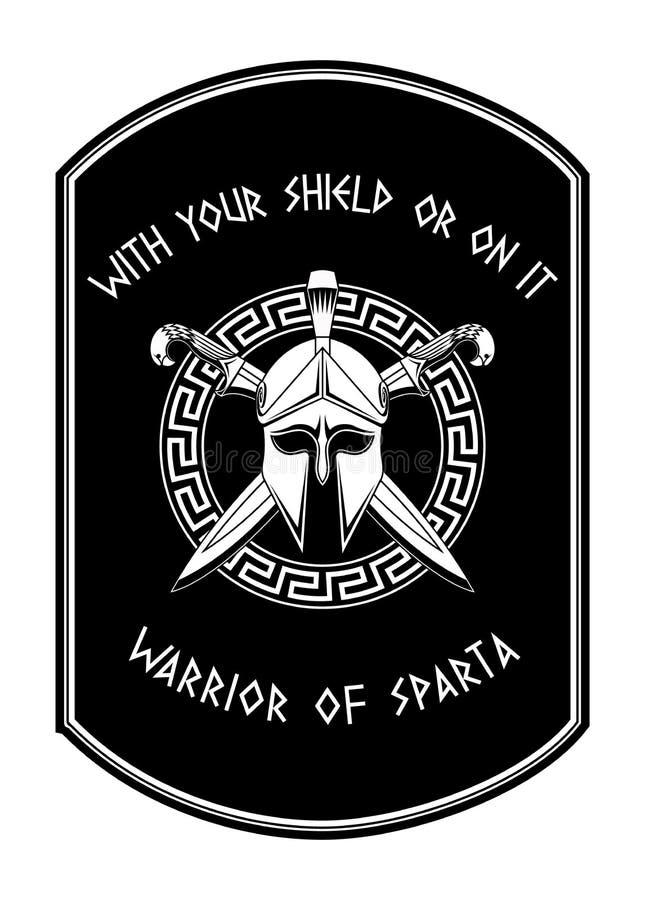 Guerreiro do emblema de Sparta ilustração royalty free