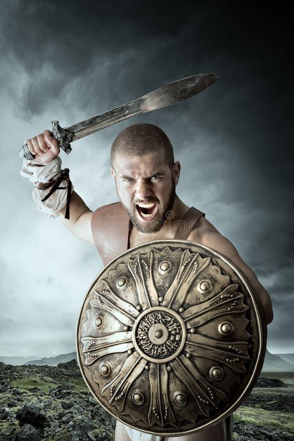 Guerreiro do gladiador foto de stock