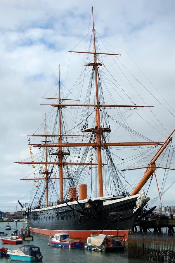 Guerreiro do HMS, construído em 1860, o navio de guerra duro do ` s primeiro do mundo, fotos de stock royalty free