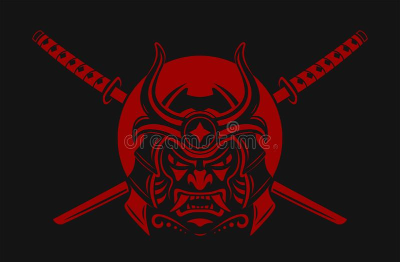 Guerreiro do samurai com espada do katana Japonês da máscara do samurai Ronin Ilustração do vetor ilustração do vetor