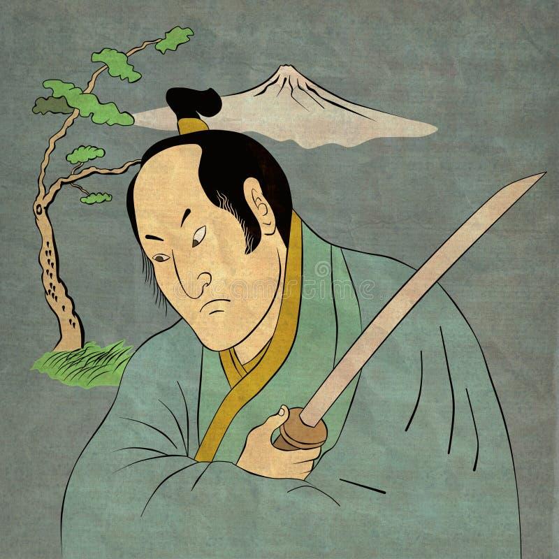 Guerreiro do samurai com posição da luta da espada do katana ilustração stock