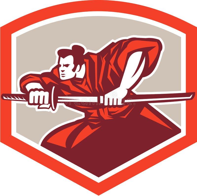 Guerreiro do samurai que tira Katana Sword Shield ilustração stock