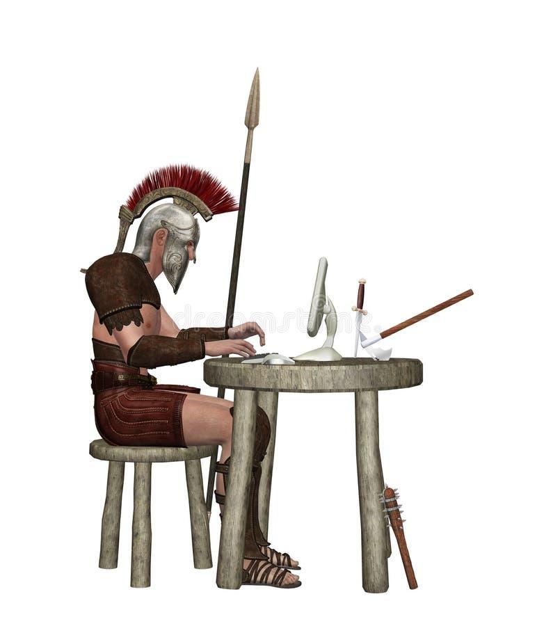 Guerreiro do teclado que usa a ilustração do computador imagens de stock