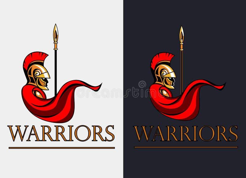 Guerreiro espartano com lança ilustração royalty free
